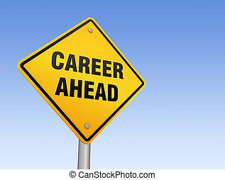 career ahead road sign 3d illustration