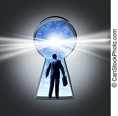 Career and job opportunities with a key hole symbol of a new business oportunity and a business person with a breifcase entering a new employment or financial market for success and profit.