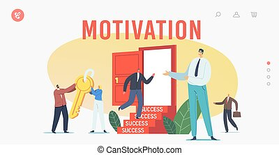 Career Boost, Business Motivation to Success Landing Page Template. Business Characters Carry Gold Key to Unlock Door