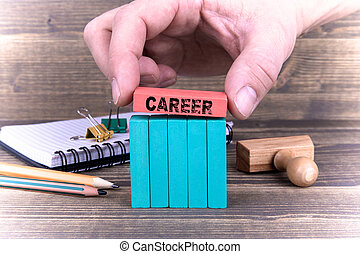 Career. Business Concept With Colorful Wooden Blocks
