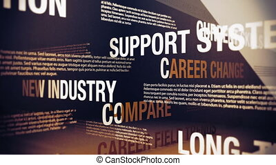 Seamlessly looping animation showing a variety of career change issues, related words and concepts.