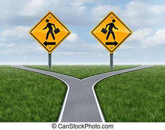 Career choice and choosing a business direction with yellow traffic signs with businessmen going in opposite paths on a crssroad street as a symbol of difficult opportunity decisions.