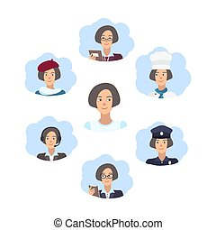 Career choice concept. Young girl choose a profession. Illustration in flat style.