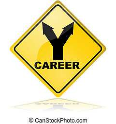 Career choices - Traffic sign showing a fork with two...