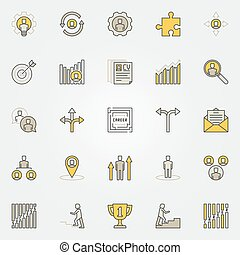 Career colorful icons set