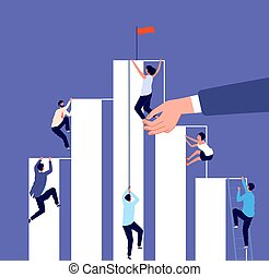 Career competition. Growth ladder, corporate challenge. Business people climb up to success. Help in work, hr investment vector illustration