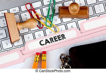 Career concept. Folder Register on Background of Computer Keyboard