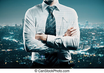 Career concept - Businessman with folded arms on creative...