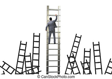 Career concept with businessman climbing ladder