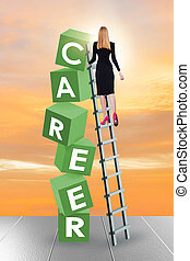 Career concept with businesswoman on top of blocks