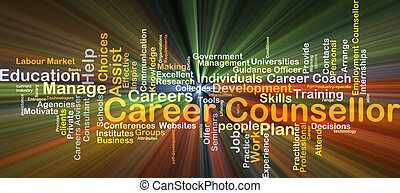 Career counsellor background concept glowing