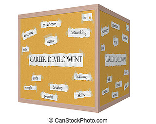 Career Development 3D cube Corkboard Word Concept with great...