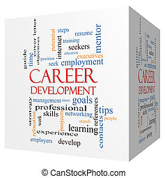 Career Development 3D cube Word Cloud Concept