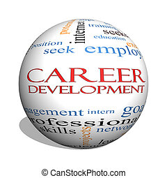 Career Development 3D sphere Word Cloud Concept