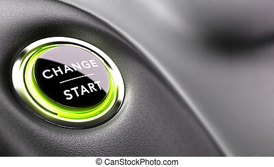 Finger about to press a change button. Concept of career development or changing life