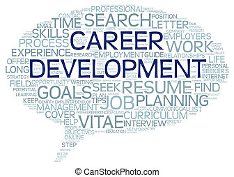 Career development in word tag cloud on white