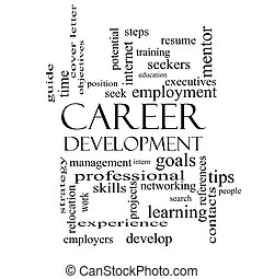 Career Development Word Cloud Concept in black and white with great terms such as goals, resume, mentor and more.