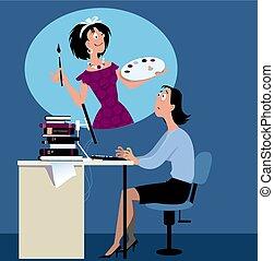 career dissapointment - Woman stuck at boring job dreaming...