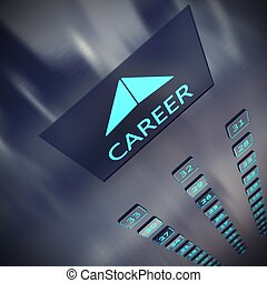 Career elevator - Image of an elevator with written career