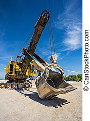 Career excavator for mining of limestone and gravel