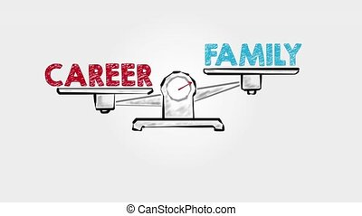 Career Family Balance. Black scale on a gray background.