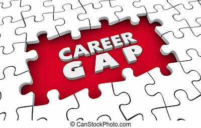 Career Gap Jobs Hole Puzzle Pieces Words 3d Illustration