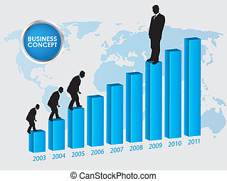 Career growth, Business progress, vector illustration