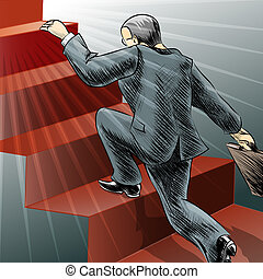 Illustration with man who runs to the top of a staircase as metaphor of fast career growth drawn in retro style