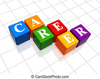 career in colour 2 - 3d colour boxes with text - career,...