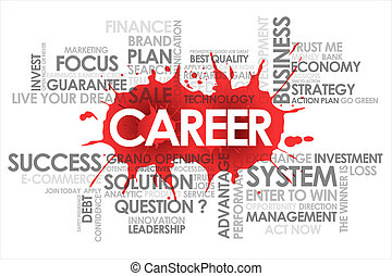 Career  in word cloud and white background