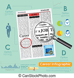 illustration of career infographics with job search
