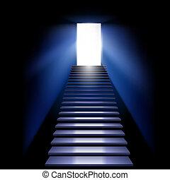 Career ladder leading to the light. Illustration on white...