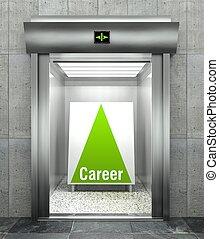 Career. Modern elevator with open door