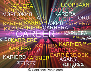 Career multilanguage wordcloud background concept glowing