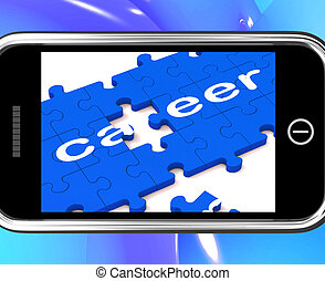 Career On Smartphone Showing Professional Opportunities