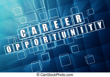 career opportunity in blue glass cubes - career opportunity...