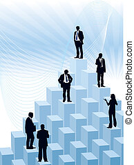 People are standing on a large graph, vector illustration.