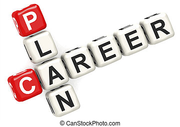Career plan word concept on cube block isolated