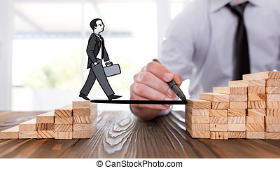 Career Planning Concept. Businessman Getting Help Building Bridges To Success.