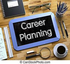 Career Planning on Small Chalkboard. 3d
