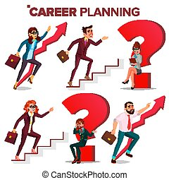 Career Planning Vector. HR Concept. Find New Job. Huge Red Question Mark. Fast Career Growth. Job Success Concept. Stairs. Step By Step. Business Woman, Businessman. Achieve Goal. Cartoon Illustration