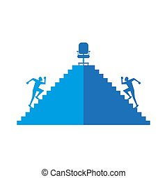 Career promotion executive search concept, staff recruitment of rare professions in a recruiting agency business illustration, two job seekers for a managerial position run up the stairs to the boss chair to the top.