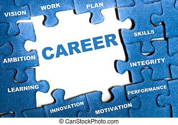 Career puzzle - Career blue puzzle pieces assembled