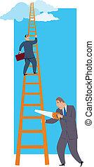 Career sabotage - A man sawing a career ladder under his...