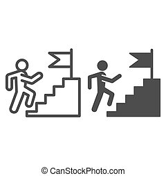 Career staircase line and solid icon. Climbing man to success on top of flag pedestal outline style pictogram on white background. Job competition for mobile concept and web design. Vector graphics.