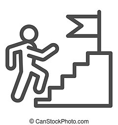 Career staircase line icon. Climbing man to success on top of flag pedestal outline style pictogram on white background. Job competition for mobile concept and web design. Vector graphics.