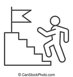 Career staircase thin line icon. Climbing man to success on top of flag pedestal outline style pictogram on white background. Job competition for mobile concept and web design. Vector graphics.