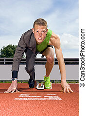 Career start - Conceptual image of an athlete (sprinter)...
