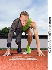 Career start - Conceptual image of an athlete (sprinter) ...