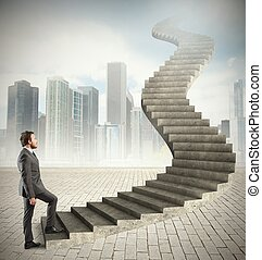 Career - Concept of long career of a businessman